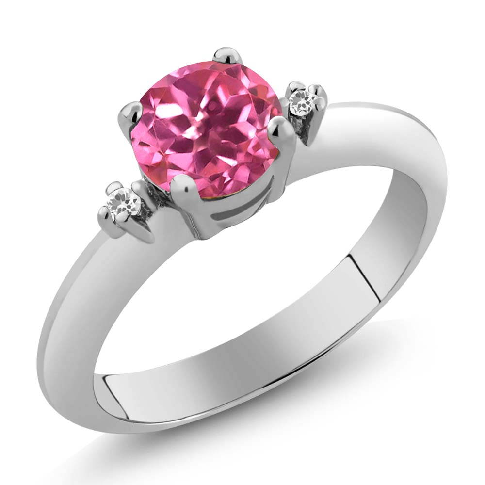 Gem Stone King 1.02 Ct Round Pink Mystic Topaz White Sapphire 14K White Gold Ring
