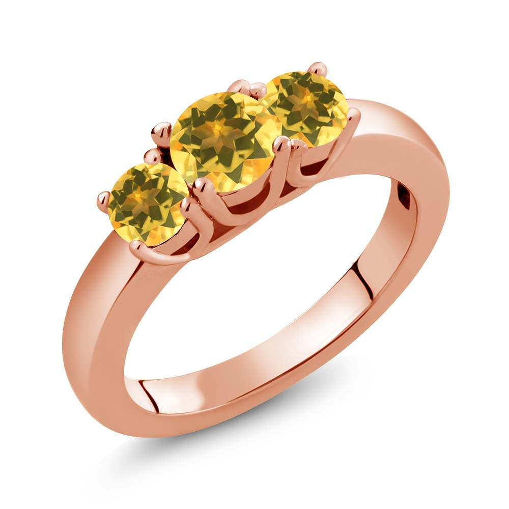 Gem Stone King 0.97 Ct Round Yellow Citrine 14K Rose Gold Ring