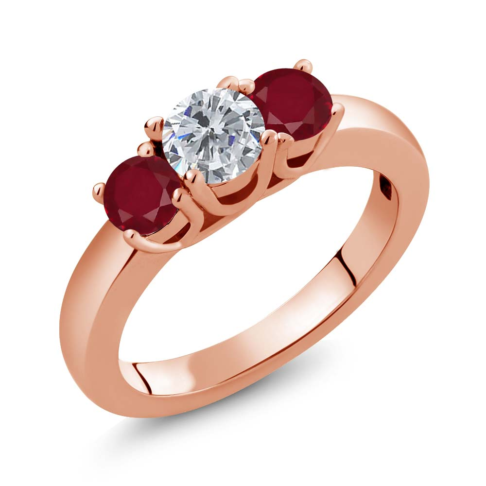 Gem Stone King 1.10 Ct Round G/H Diamond Red Ruby 14K Rose Gold Ring
