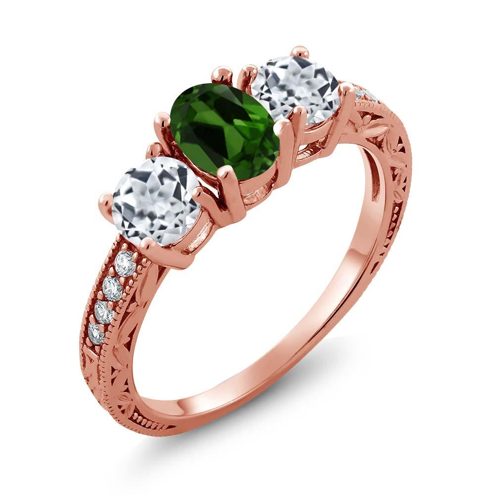 Gem Stone King 2.12 Ct Oval Green Chrome Diopside White Topaz 14K Rose Gold Ring