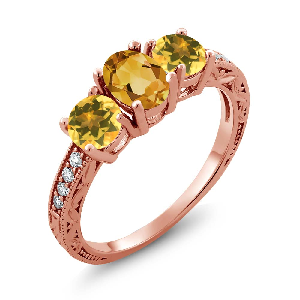 Gem Stone King 1.62 Ct Oval Yellow Citrine 14K Rose Gold Ring