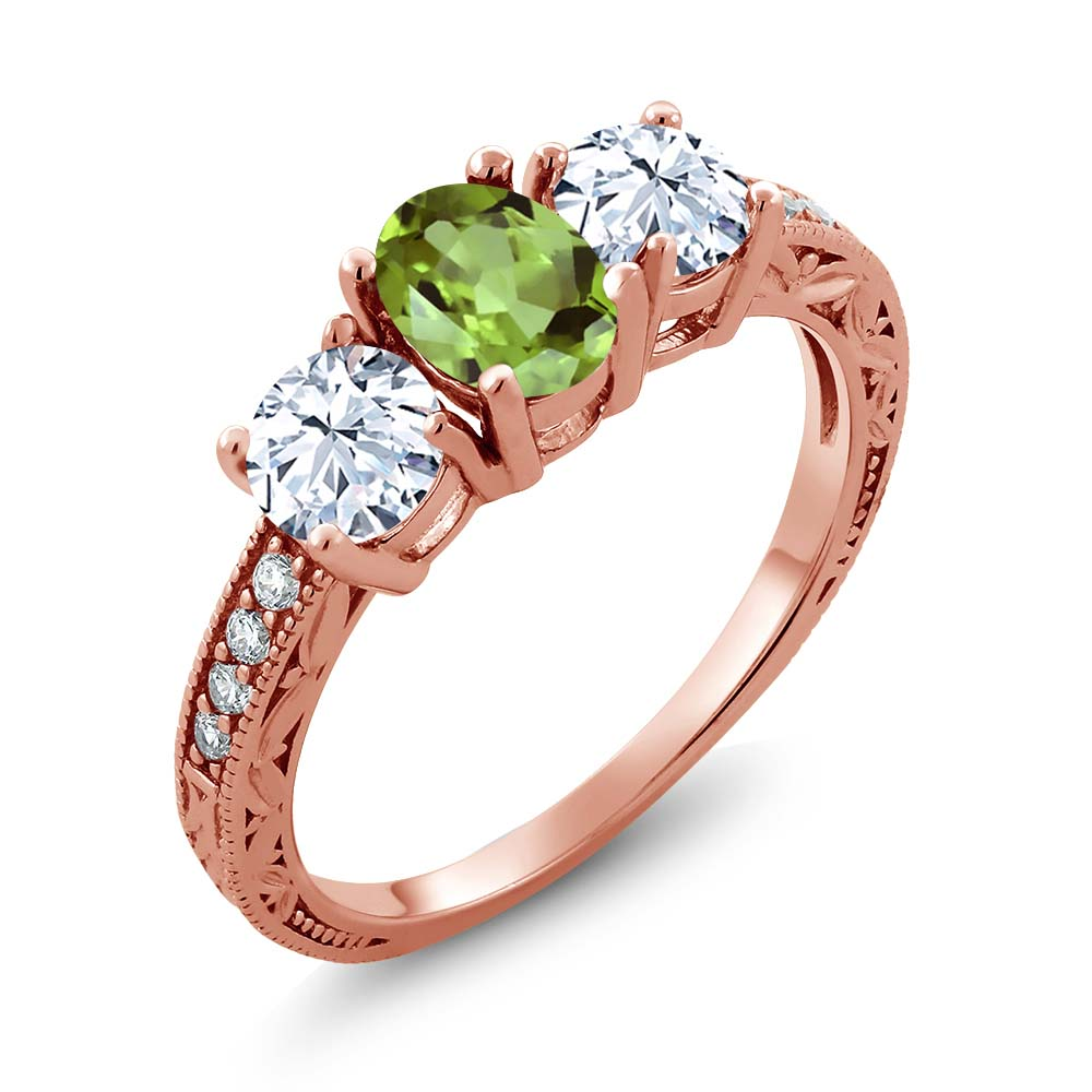 Gem Stone King 2.42 Ct Oval Green Peridot 14K Rose Gold Ring