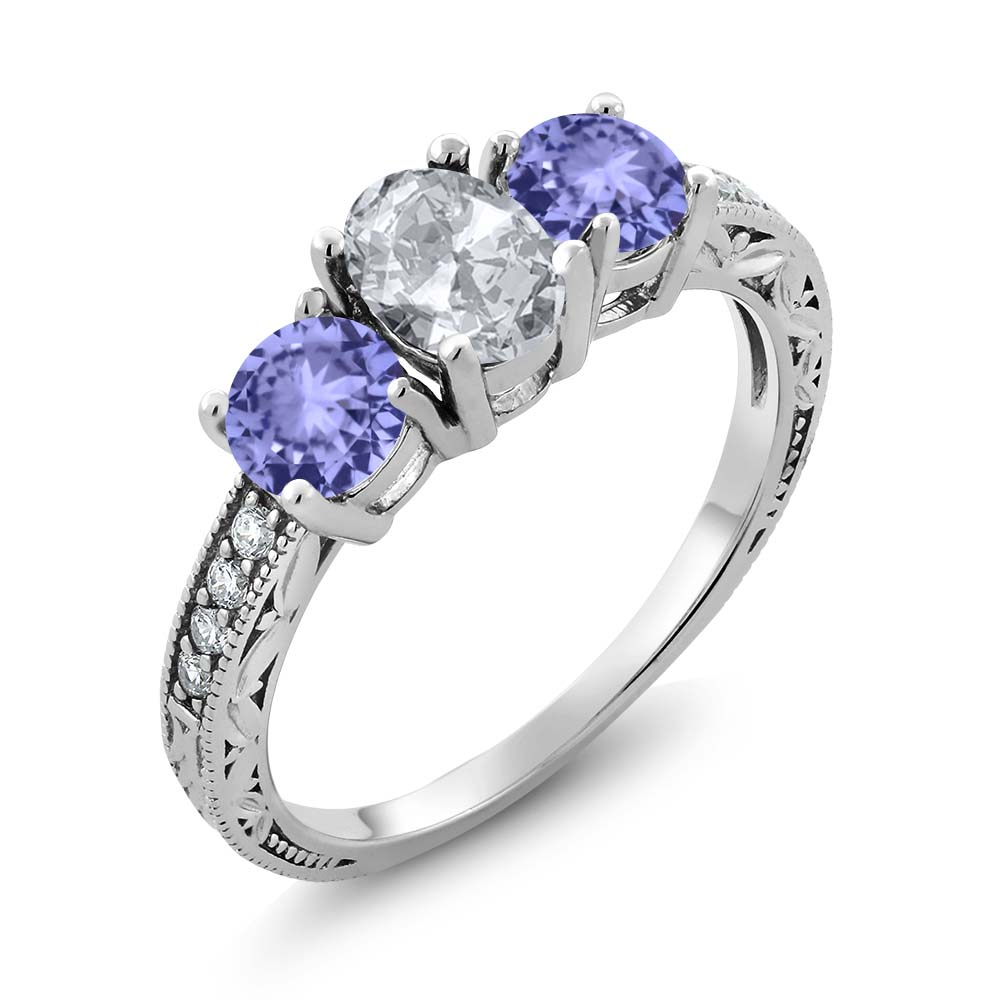 Gem Stone King 1.99 Ct Oval White Topaz Blue Tanzanite 925 Sterling Silver 3-Stone Ring