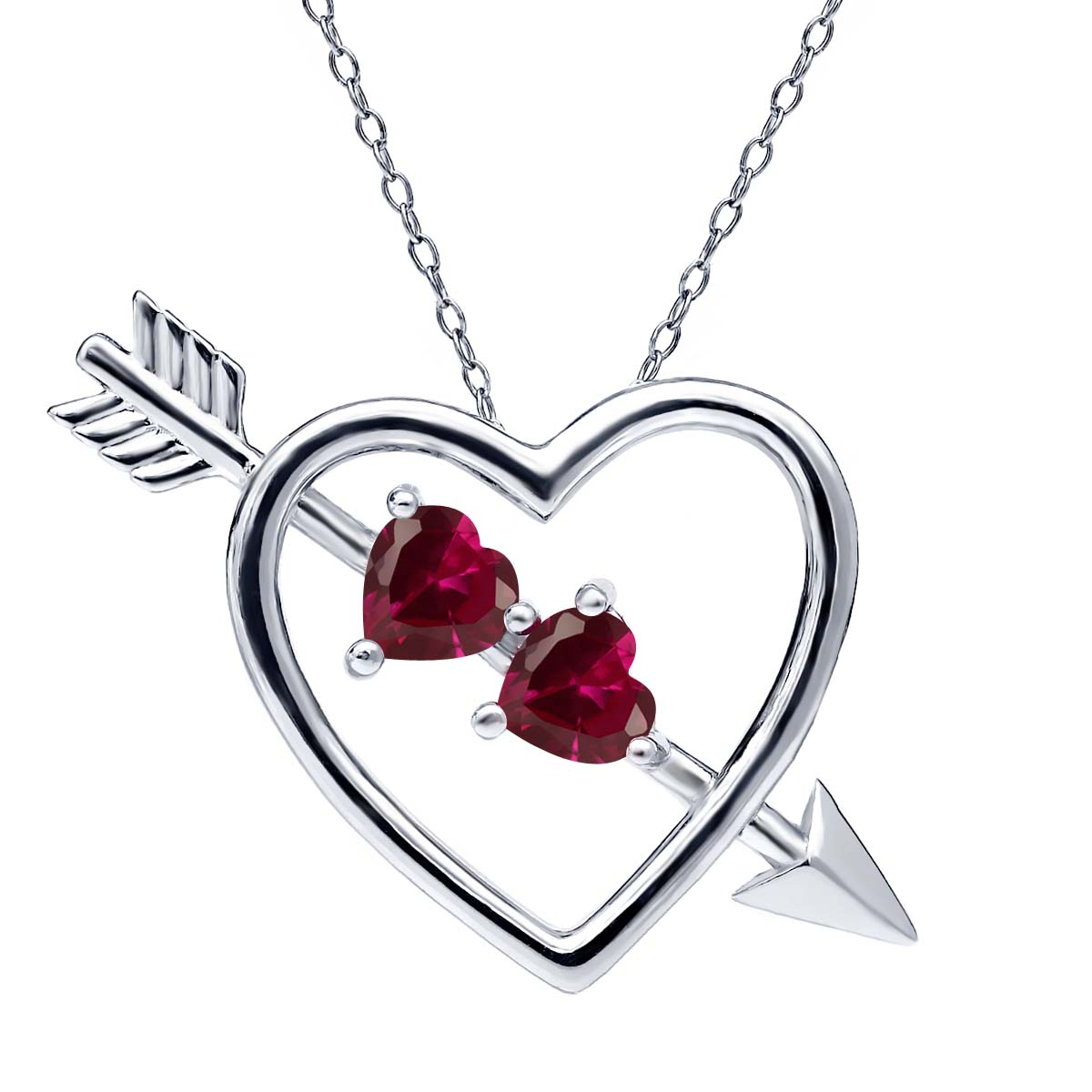 Gem Stone King 1.20 Ct Created Ruby Created Sapphire 925 Sterling Silver Heart /& Arrow Pendant