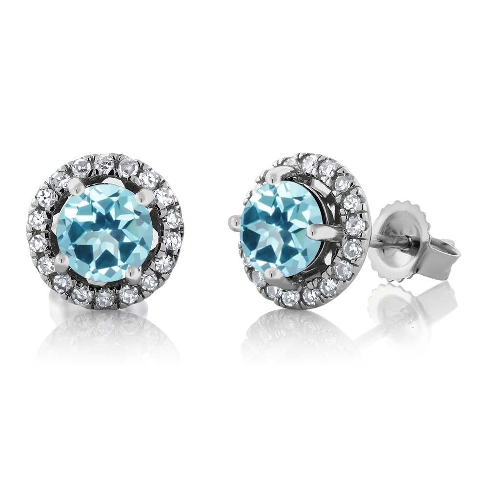 14K White Gold Diamond Earrings Set with Round Ice Blue Topaz from Swarovski