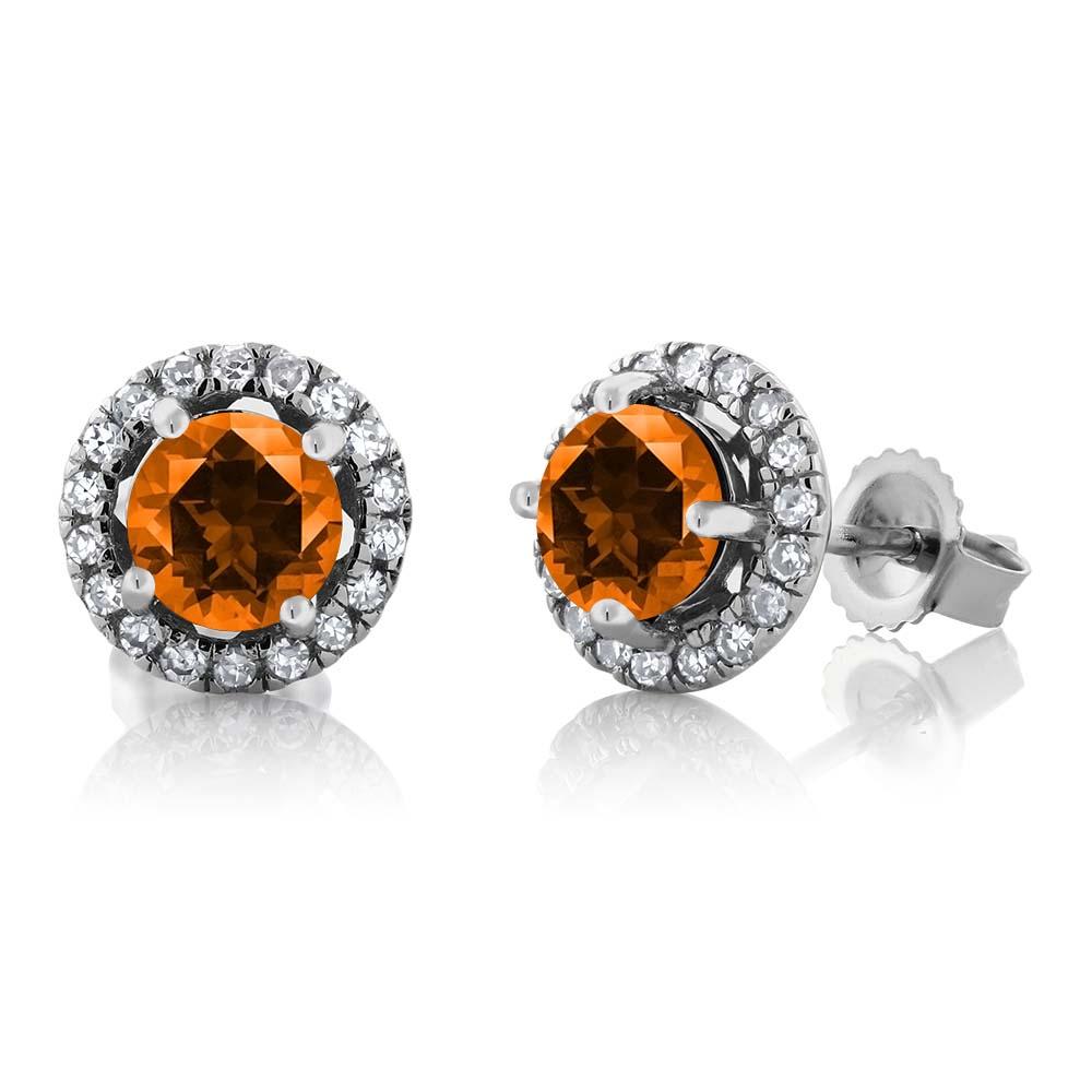 14K White Gold Diamond Earrings Set with Round Poppy Topaz from Swarovski