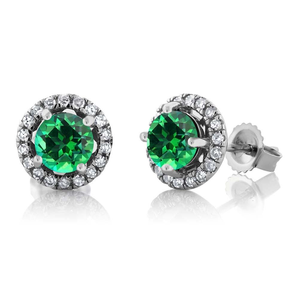 14K White Gold Diamond Earrings Set with Round Rainforest Topaz from Swarovski