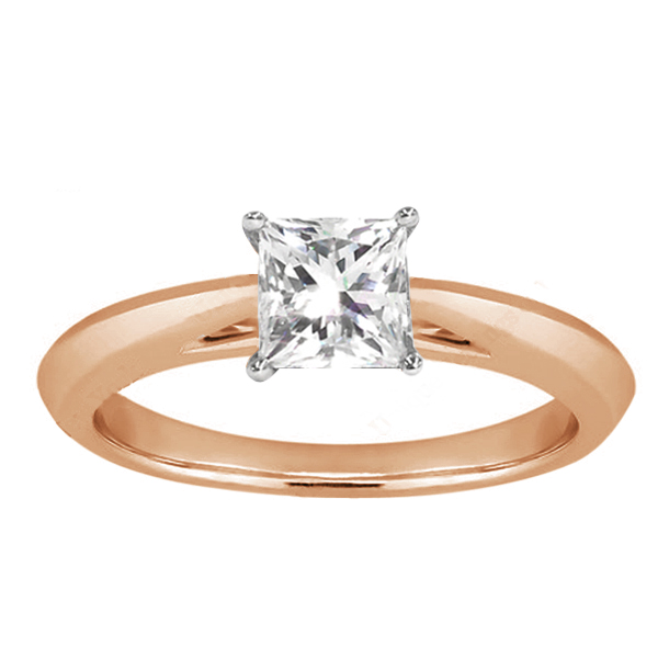 Gem Stone King 0.75 Ct Princess H/I SI1/SI2 Diamond 14K Rose Gold Ring