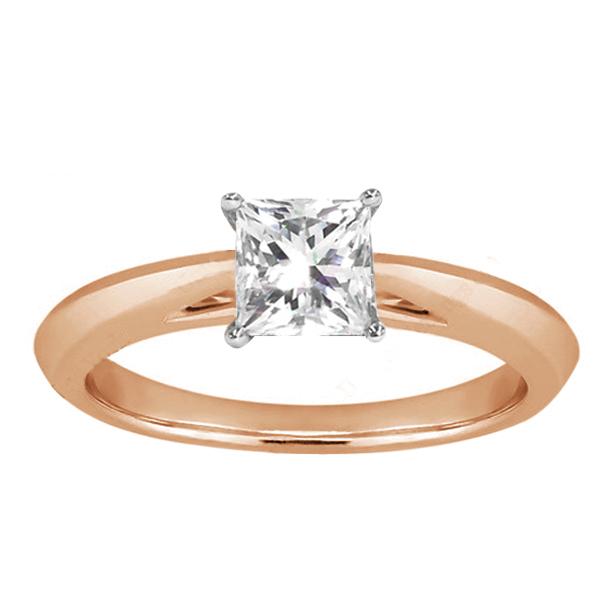 Gem Stone King 0.75 Ct Princess H/I SI1/SI2 Diamond 18K Rose Gold Ring