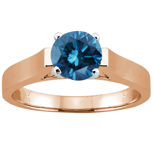 Gem Stone King 1.10 Ct Round Blue SI1/SI2 Diamond 14K Rose Gold Ring