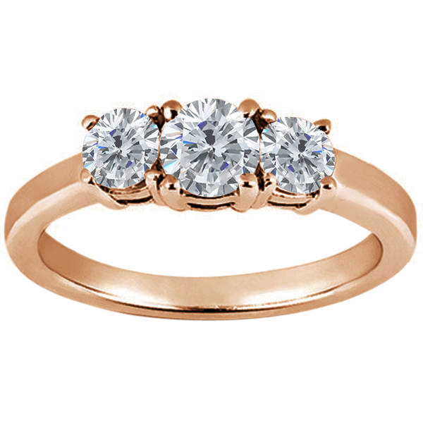 Gem Stone King 0.94 Ct Round H/I Diamond G/H Diamond 14K Rose Gold Ring