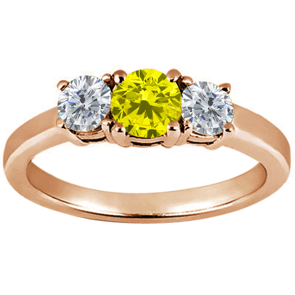 Gem Stone King 0.89 Ct Round Canary Diamond G/H Diamond 14K Rose Gold Ring