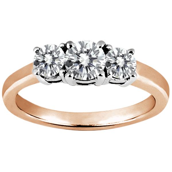 Gem Stone King 1.29 Ct Round H/I Diamond G/H Diamond 14K Rose Gold Ring