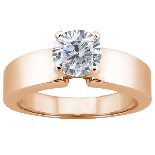 Gem Stone King 0.60 Ct Round H/I SI1/SI2 Diamond 14K Rose Gold Ring