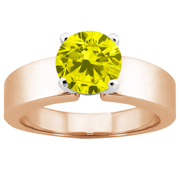 Gem Stone King 0.80 Ct Round Canary SI1/SI2 Diamond 18K Rose Gold Ring