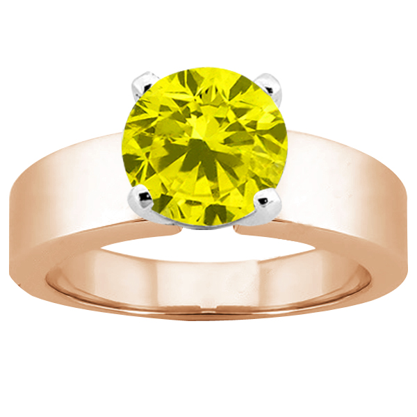 Gem Stone King 1.10 Ct Round Canary SI1/SI2 Diamond 14K Rose Gold Ring