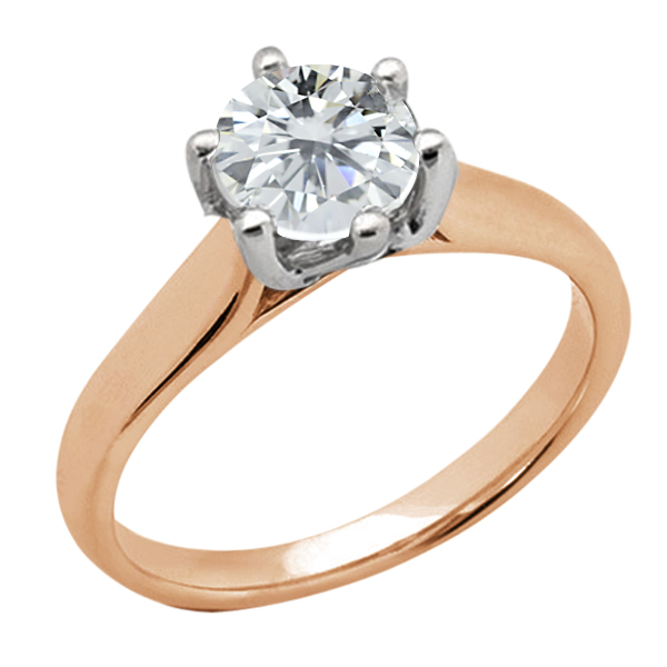 Gem Stone King 1.25 Ct Round H/I I1 Diamond 14K Rose Gold Ring