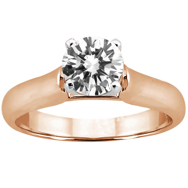 Gem Stone King 0.60 Ct Round H/I I1 Diamond 14K Rose Gold Ring