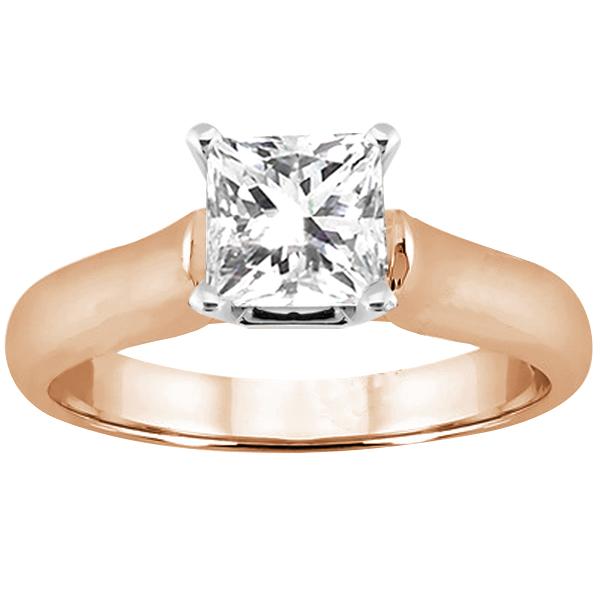 Gem Stone King 0.75 Ct Princess H/I SI1/SI2 Diamond 14K Rose Gold Ring