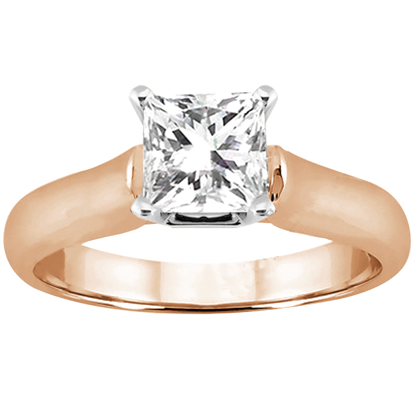 Gem Stone King 0.80 Ct Princess H/I I1 Diamond 14K Rose Gold Ring