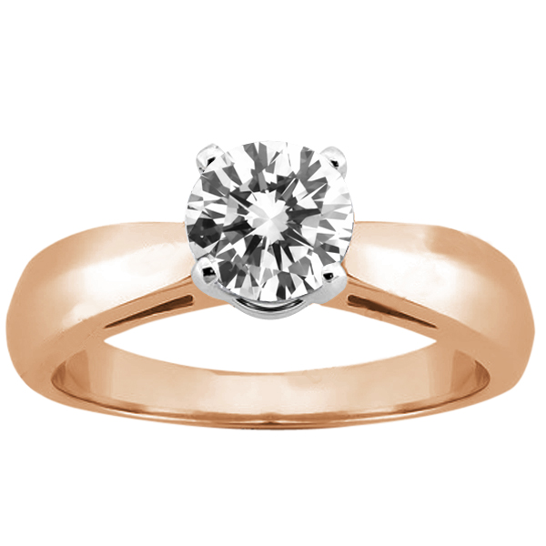 Gem Stone King 0.75 Ct Round H/I SI1/SI2 Diamond 14K Rose Gold Ring