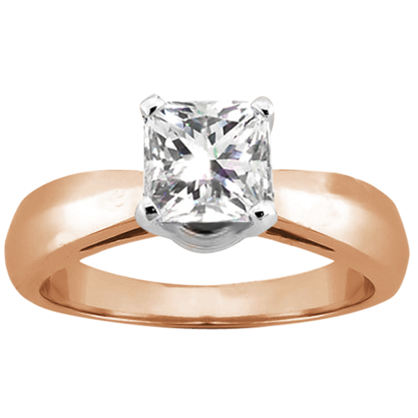 Gem Stone King 0.90 Ct Princess H/I SI1/SI2 Diamond 14K Rose Gold Ring