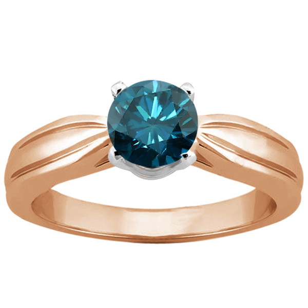 Gem Stone King 0.80 Ct Round Blue SI1/SI2 Diamond 14K Rose Gold Ring