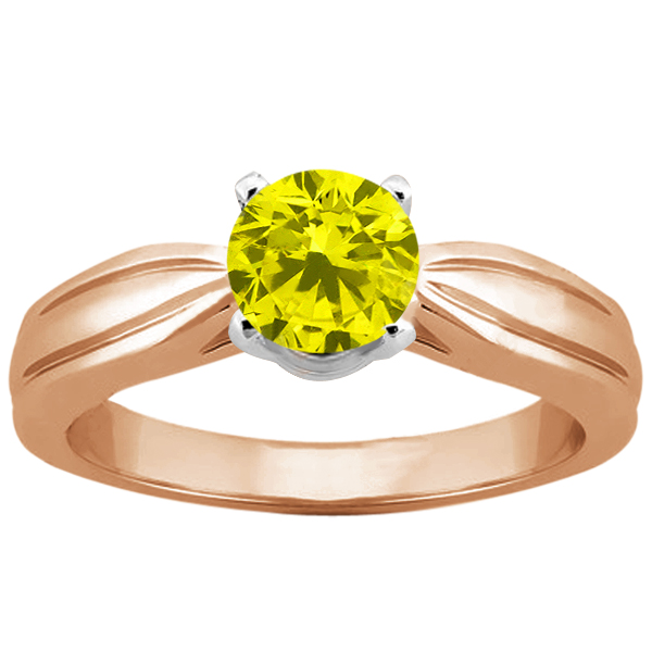 Gem Stone King 0.80 Ct Round Canary SI1/SI2 Diamond 14K Rose Gold Ring