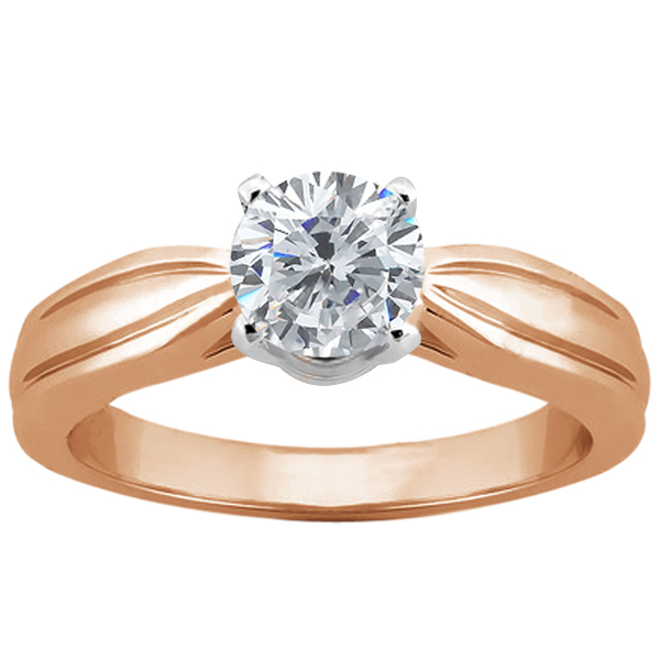 Gem Stone King 0.90 Ct Round H/I I1 Diamond 14K Rose Gold Ring