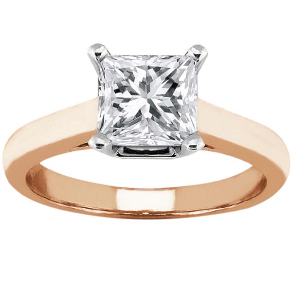Gem Stone King 1.00 Ct Princess H/I I1 Diamond 14K Rose Gold Ring