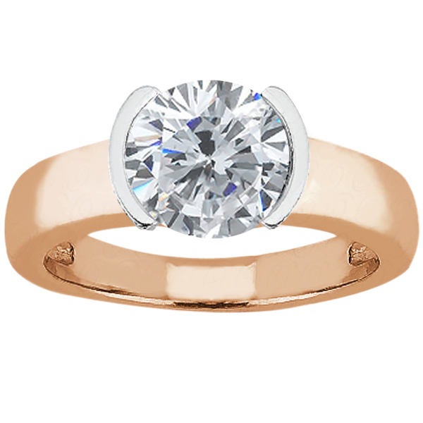 Gem Stone King 1.00 Ct Round H/I I1 Diamond 14K Rose Gold Ring