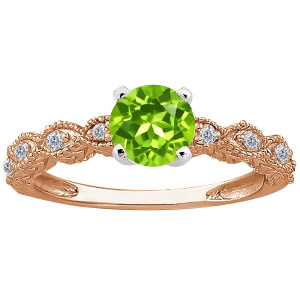 Gem Stone King 1.00 Ct Round Green Peridot 14K Rose Gold Ring