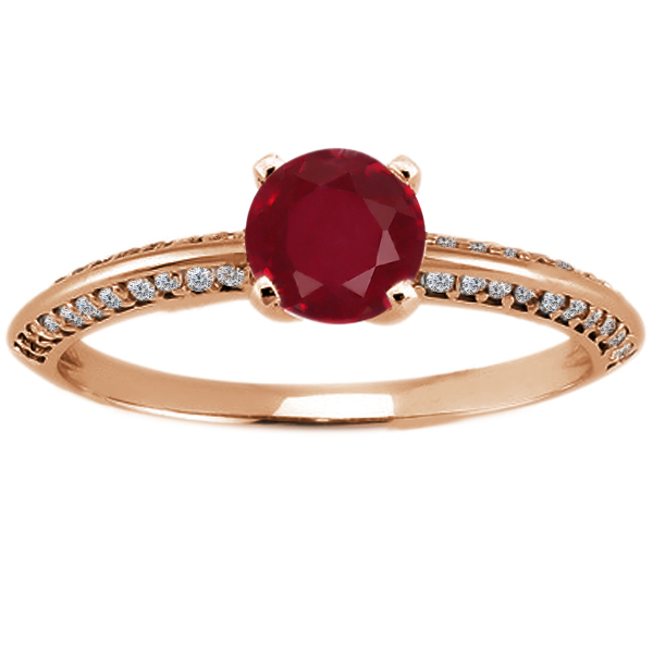 Gem Stone King 1.14 Ct Round Red Ruby 14K Rose Gold Ring