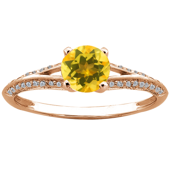 Gem Stone King 0.88 Ct Round Yellow Citrine 14K Rose Gold Ring