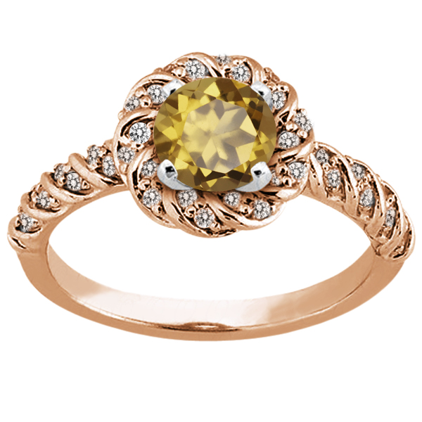 Gem Stone King 1.68 Ct Round Whiskey Quartz 14K Rose Gold Ring