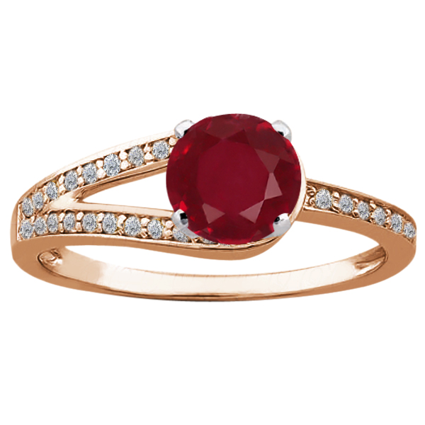 Gem Stone King 1.46 Ct Round Red Ruby 14K Rose Gold Ring