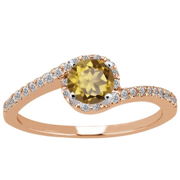 Gem Stone King 1.18 Ct Round Whiskey Quartz 14K Rose Gold Ring