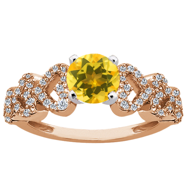 Gem Stone King 1.42 Ct Round Yellow Citrine 14K Rose Gold Ring