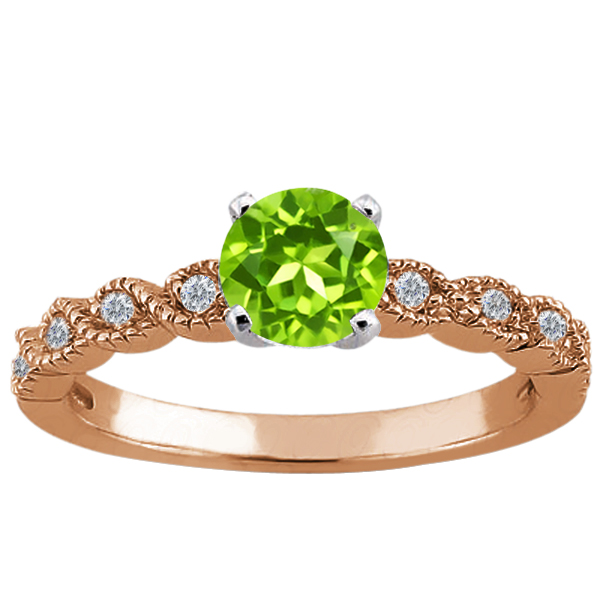 Gem Stone King 1.08 Ct Round Green Peridot 14K Rose Gold Ring