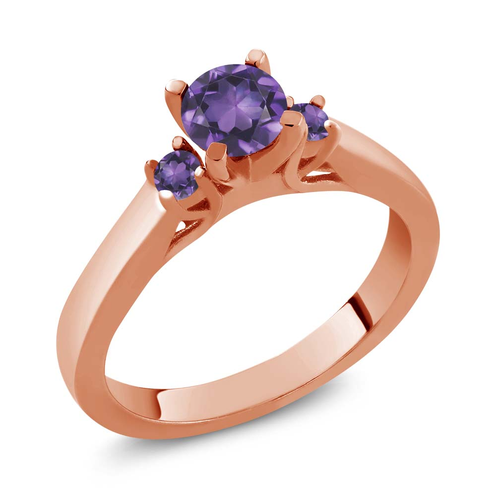 Gem Stone King 0.57 Ct Round Purple VS Amethyst 14K Rose Gold Ring