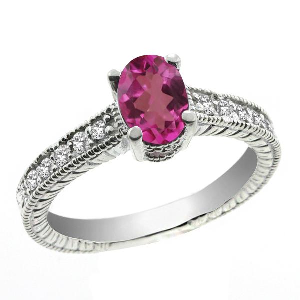 Gem Stone King 1.35 Ct Oval Pink Mystic Topaz White Topaz 18K White Gold Ring