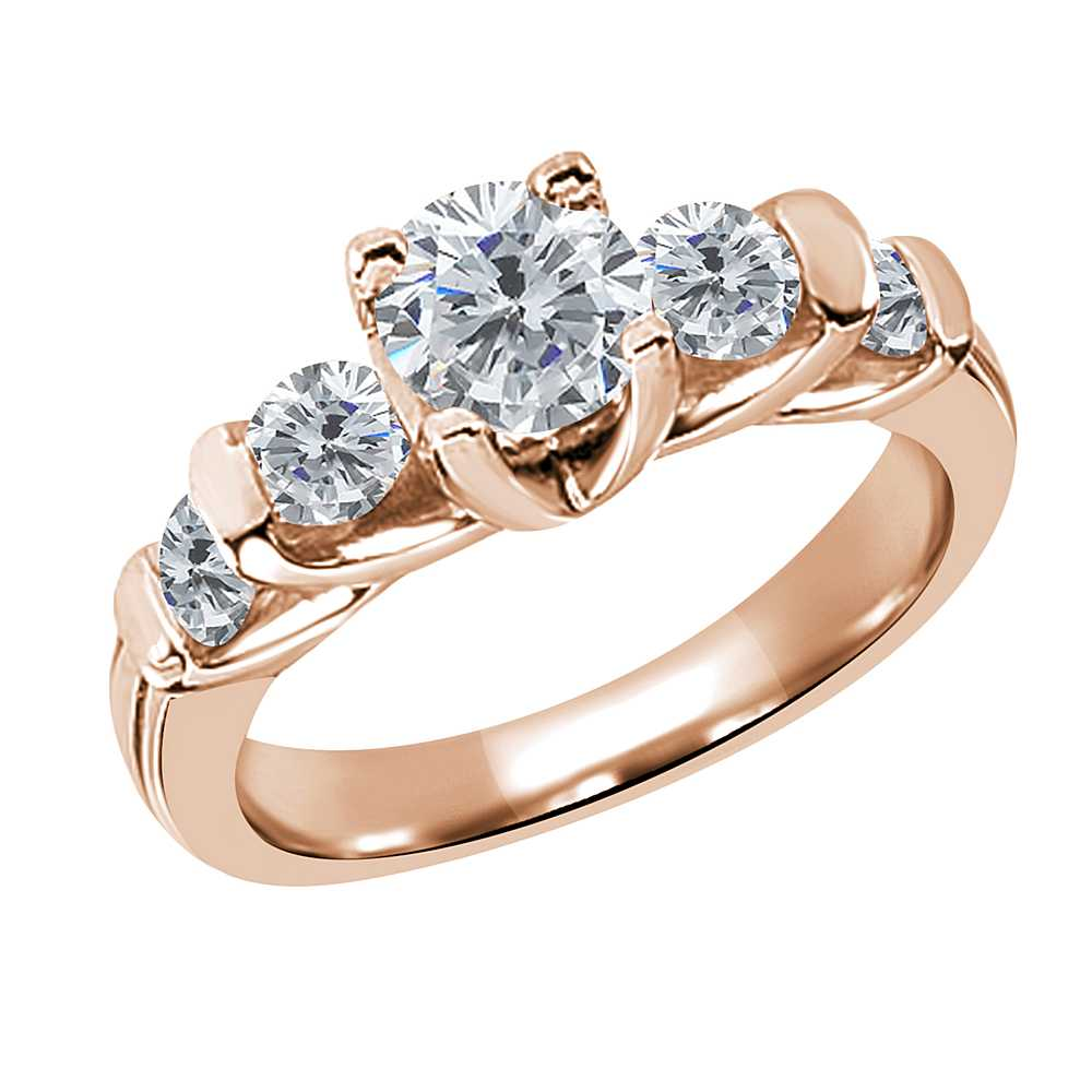 Gem Stone King 1.88 Ct Round H/I and G/H Diamond 14K Rose Gold Ring