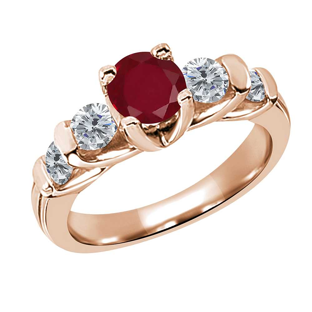 Gem Stone King 1.93 Ct Round Red Ruby G/H Diamond 14K Rose Gold Ring