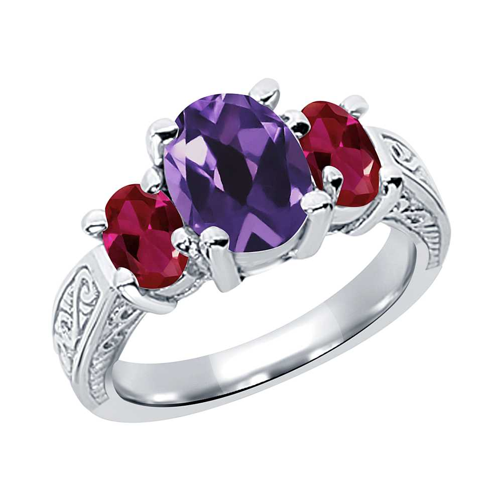 Gem Stone King 3.02 Ct Oval Purple Amethyst Red Created Ruby 925 Sterling Silver 3-Stone Ring