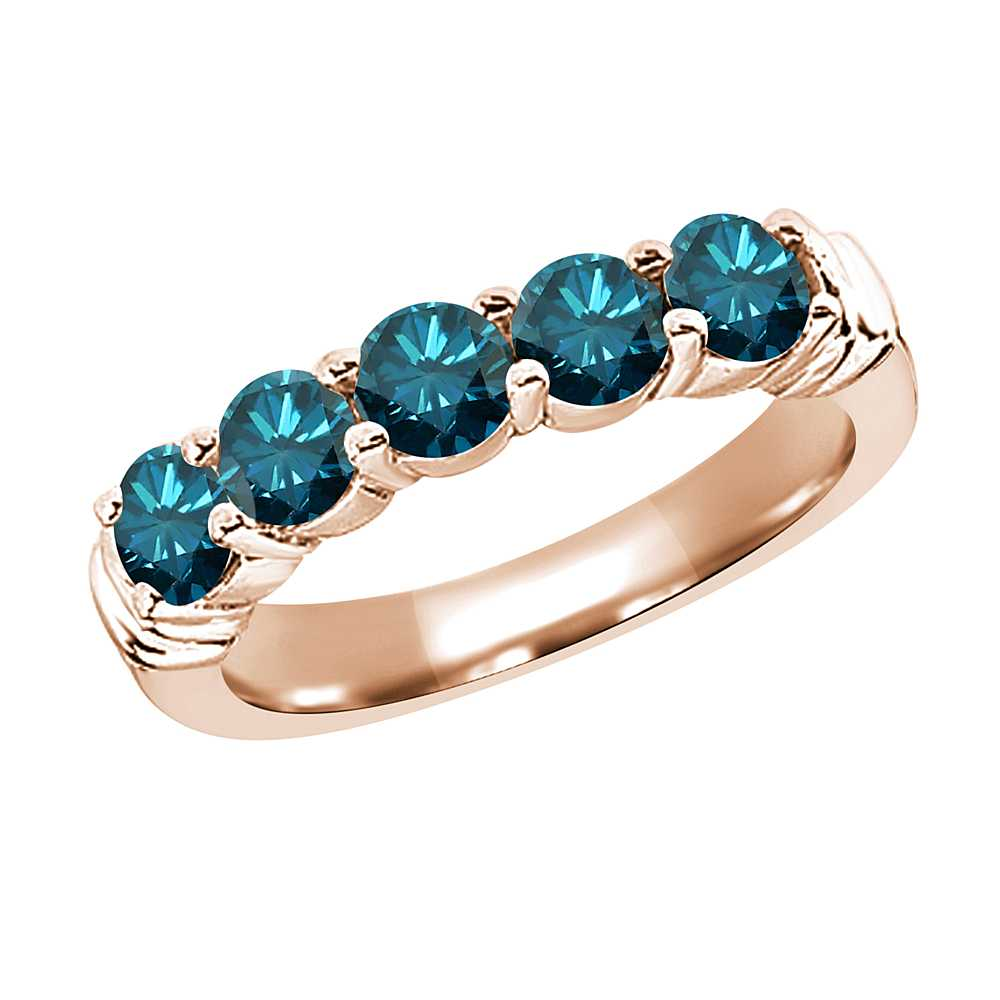 Gem Stone King 1.35 Ct Round Blue SI1/SI2 Diamond 14K Rose Gold Ring