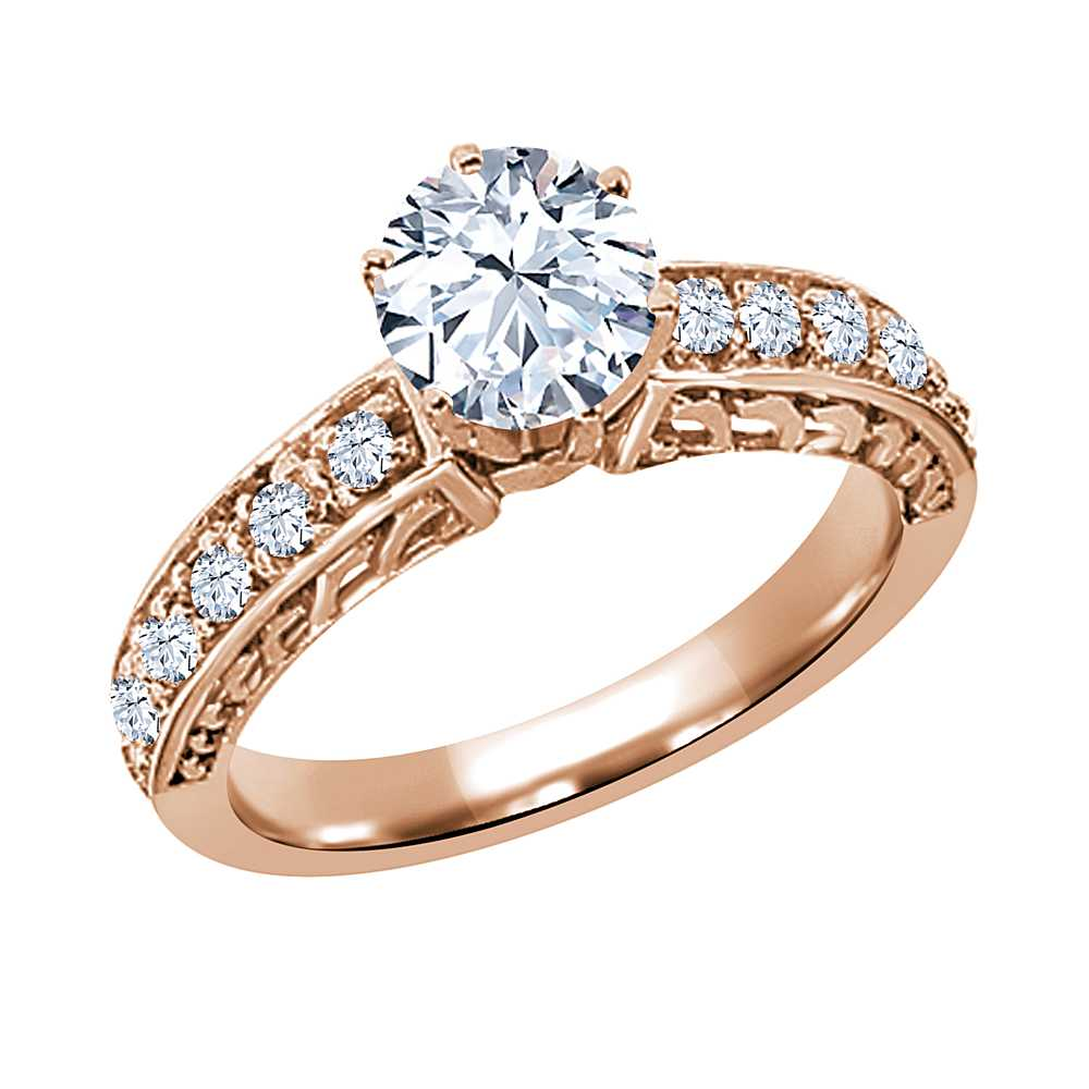 Gem Stone King 1.30 Ct Round White VS Topaz 14K Rose Gold Ring