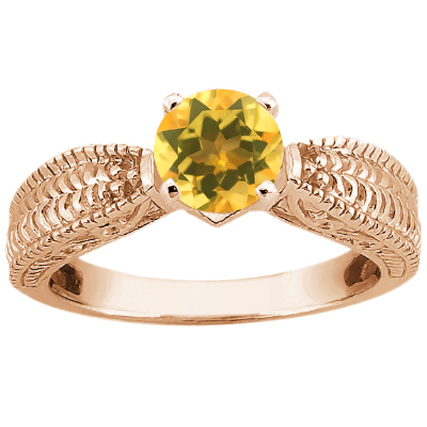 Gem Stone King 0.70 Ct Round Yellow VS Citrine 14K Rose Gold Ring