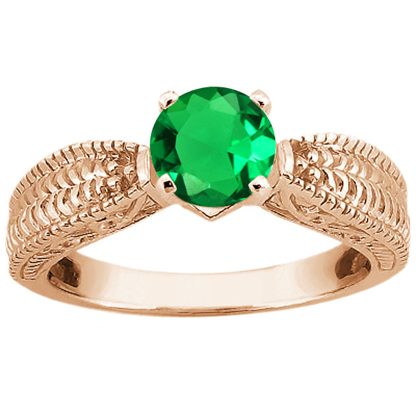 Gem Stone King 0.77 Ct Round Green VS Nano Emerald 14K Rose Gold Ring