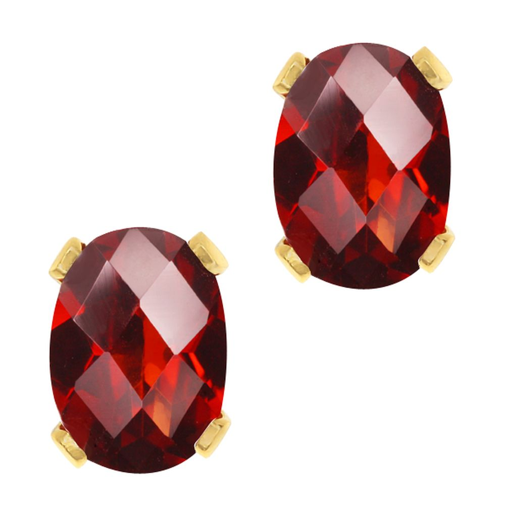 Ct Oval Checkerboard Shape Red Garnet Yellow Gold Plated Stud Earrings