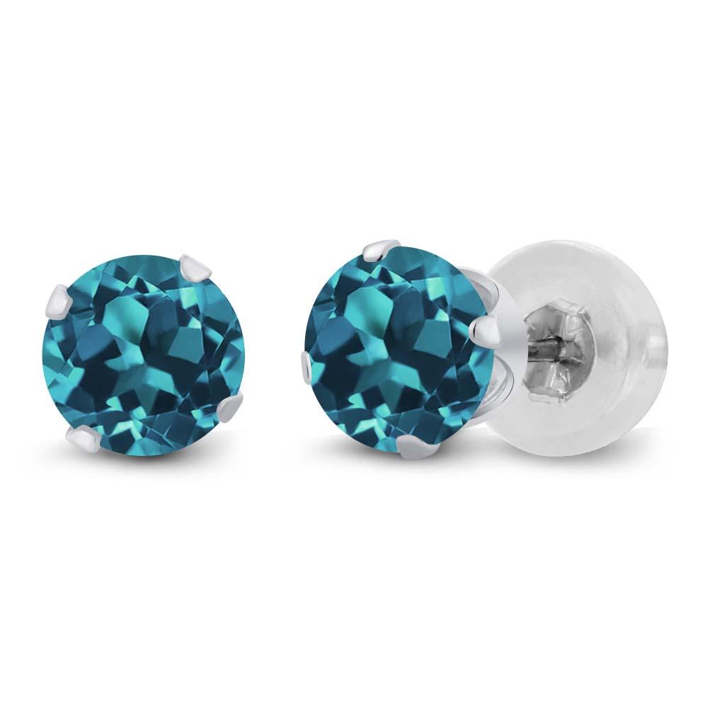 2 5 Mm Earrings: 1.00 Ct Round 5mm London Blue Topaz 14K White Gold Stud